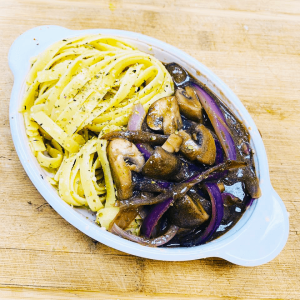 Fettuccini With Bourguignon, Mushroom, Red Onions and Wine Sauce